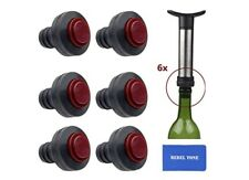 6 pcs Wine Bottle Saver Vacuum Stoppers Preserver wt Push Button Easy Removal