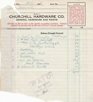 U.S. Churchill Hardware Co. General Hardware 1918 Detailed Paid Invoice Rf 41755