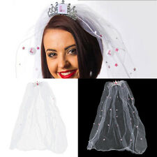Hen Night Accessories White Tiara Comb Veil Bride to Be Bachelorette Do Party