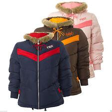 adidas Originals Women's Petite Winter Coat Jacket Faux Fur Hood Quilted Padded Blue M-uk6