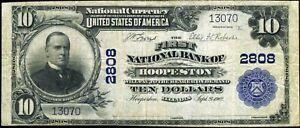 1902 NATIONAL BANK NOTE ~ HOOPESTON, ILLINOIS ~ VERMILLION COUNTY ~ NICE