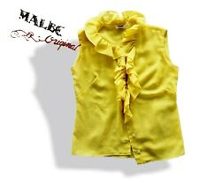 vintage yellow ruffle front sleeveless shell Blouse shirt tank top by Malbe S