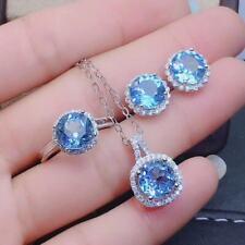 Certified Natural Sky Blue Topaz 925 Sterling Silver Ring Pendant Earrings Set