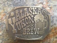 VINTAGE 1970s **ALASKA YUKON BREW** BEER BREWERY BRASSTONE BELT BUCKLE. Rare.