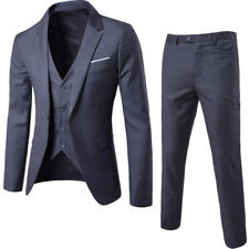 Mens 3pcs Suits Coat/Vest/Pants Dress Formal Slim Fit Bridegroom Button Wedding