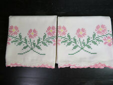 """2 Vintage Cross-Stitch and Crocheted Pillowcases Size 20 1/2"""" x 29""""  Off-White"""