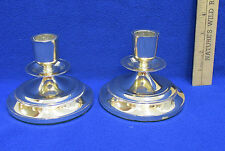 """Gold Toned Candle Holders Tapered Drip Ring Shiny 3 1/2"""" Tall Pair of 2"""