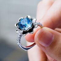 Fashion Flower Women's Wedding Rings 925 Silver Blue Sapphire Ring Size6-10
