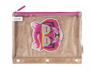 "Yoobi Tiger Zipper Binder Pouch Gold Glitter Pencil Case School 9.5x7.5"" Bag"
