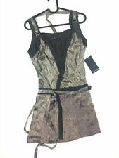 Salvage Harness Wrap Dress Size Small NEW Eagle Print Silver Mini