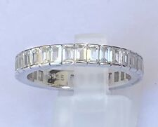 Emerald Cut Diamond Simulated Band White Gold Over Real Silver 925 Sparkling