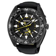 New Seiko SUN057 Prospex Kinetic GMT Black Dial Black Leather Strap Mens Watch