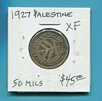 PALESTINE -  BEAUTIFUL HISTORICAL SILVER 50 MILS, 1927, KM# 6