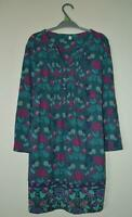 NEW EX PER UNA M & S UK SIZE 8 10 12 TEAL FLORAL JERSEY BLOUSE TUNIC TOP