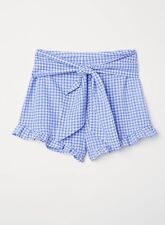 H&M Worn Once Women's Shorts with Ties in Gingham Blue and White Check (US 10)