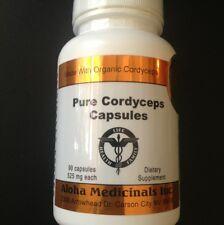 100% Organic Pure Cordyceps Sinensis,525mg 90 Caps (1 Bottle),Aloha Medicinals