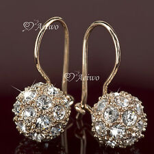 EARRINGS DANGLE 9K GF 9CT ROSE GOLD MADE WITH SWAROVSKI CRYSTAL BALL FANCY