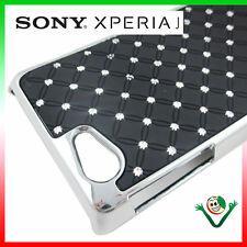 Funda BRILLO LUZ Para Sony Xperia J ST26i atrás cover rígido NEGRO golpes