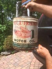 Vintage Billups Your Friend Motor Oil Gas Can w/ Hand sign Graphics Gas Gasoline