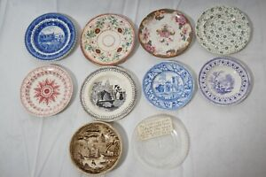 ANTIQUE STAFFORDSHIRE BUTTER PATS FLOW BLUE TRANSFER WARE 3-4in LOT OF 10