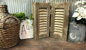 Small Antique Farmhouse Shutter, Natural Wood Shutter Architectural Salvage A44,