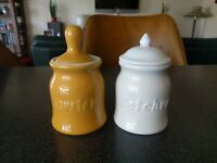 HALL CHINA 262 MUSTARD JAR KETCHUP  RESTAURANT WARE CONDIMENT DINER COFFEE SHOP