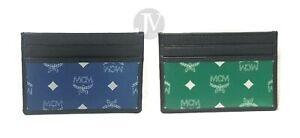 New MCM Mens Eden Mini Reflective Nylon Leather Card Case Wallet
