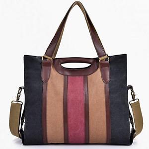 Large Colour Womens Canvas Bags Cross Body Shoulder Messenger Satchel Tote Bag