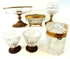 6pcs Antico Vintage cut glass & Bronze / METAL BOX TAZZA CIOTOLA VASSOIO Casket