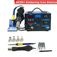 New 2in1 862D+ SMD Soldering Iron Hot Air Rework Station w/ 4 Nozzles 110V 700W