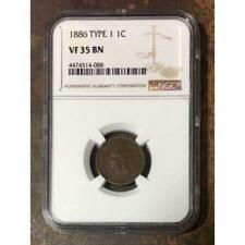 1886 Type 1 Indian Head Cent NGC VF35 BN  ***Rev. Tye's Stache*** #4088