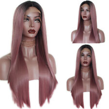 Synthetic Lace Front Wig Silky Straight Ombre Purple Hair Heat Resistant Fashion