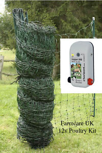 Poultry / Chicken Electric Netting GREEN  25 m * KIT* with Powerful Energiser.