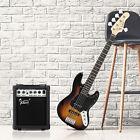 Glarry Gjazz Electric 5 String Bass Guitar Sunset 20 Frets W/Bag+20W Amplifier for sale