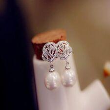 Women Vintage Elegant Luxury Eardrop Rose Flower Pearl Ear Stud Earrings Jewelry