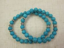 Ladies  Men's Turquoise Bracelets with Silver Spacers - 8 mm.