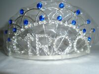 Ciroc Tiara Silver with Blue and Silver Rhinestones New