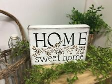 Home Sweet Home flower vine painted wooden shelf sign farmhouse decorations