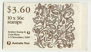 1989 EMBOSSED STAMP BOOKLET 'CHRISTMAS - STAMP & COIN SHOW' PANE 10 x 36c MNH