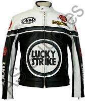 LUCKY STRIKE Veste de Moto en Cuir Blouson Motard - Noir / Blanc