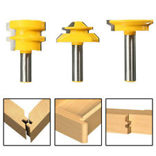 3 x 1/2'' Shank Lock Miter Glue Joint Drawer Front Router Bit Set Milling Cutter