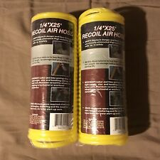 """NEW 1/4"""" x 25' Yellow Recoil Air Hoses (x2)"""