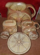 VINTAGE FRANKOMA WAGON WHEEL DESERT GOLD PITCHER 94d cream sugar salt pepper set