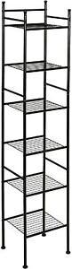 6 Tier Metal Bathroom Storage Tower Steel Shelf Organizer Tall Sleek Space Saver