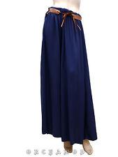 Jupe Longue T UNIQUE 36 38 40 42 44 S M L XL Bleu ceinture NEUF skirt Rock Falda