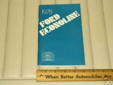 1978 Ford ECONOLINE Owner's Instruction Manual