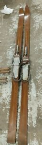 1930s lund skis antique vtg wood pair 72 inches rare skiing