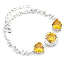 Jewelry Gift Heart Round Yellow Citrine Silver Women Charm Bracelets Zircon