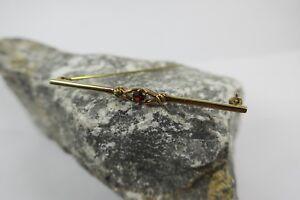 Vintage Stabbrosche / Brosche 333 Gold mit Granat , brooch garnet