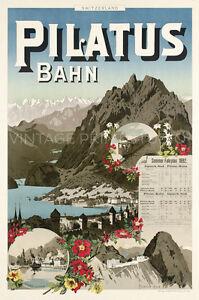 Swiss 1892 Vintage Travel Giclee Canvas Print 20x30